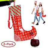 Christmas Stocking Flask Wine Dispenser- 2 Large Party Sock w/Shoulder Strap (Holds 3 Bottles)- Funny White Elephant Gifts Under 25 Dollar- Christmas Gag Gifts- Dirty Santa, Yankee Swap, Secret Santa