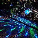 HehiFRlark luces LED proyectadas solares, reflectores giratorios con luces de césped, luces de proyección de jardín al aire libre