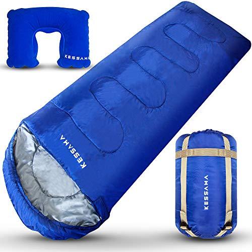 KESSAMA® Ultraleicht Schlafsack - 800g - mit besonders kleinem Packmaß - der wasserfeste Deckenschlafsack inkl. aufblasbarem Nackenkissen für Outdoorer, Festivals und Backpacker