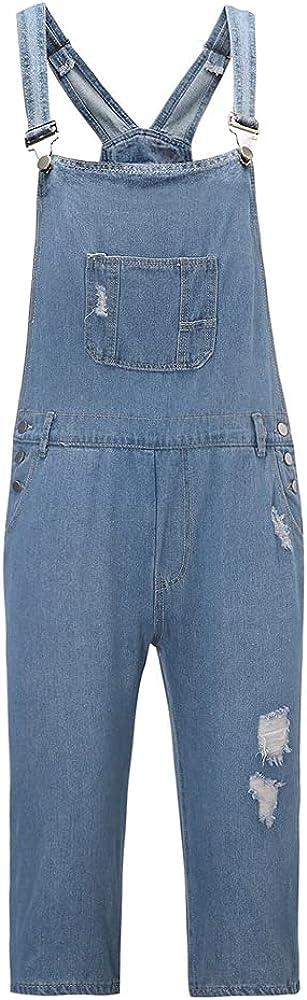 Ulooker Men's Slim Fit Bib Tampa Mall Ripped Distressed online shop Overalls Denim Jump