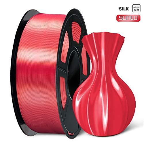 SUNLU 3D Printer Filament PLA Plus, 1.75mm PLA Filament, 3D Printing Filament Low Odor, Dimensional Accuracy +/- 0.02 mm, 2.2 LBS (1KG) Spool 3D Filament,Red PLA+
