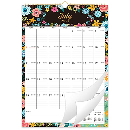 2021-2022 Wall Calendar - 18 Monthly Wall Calendar with Thick Paper, 12' x 17', Jul 2021 - Dec 2022, Large Blocks with Julian Dates, Twin-Wire Binding, Hanging Hook, Kinds of Different Background Pattern