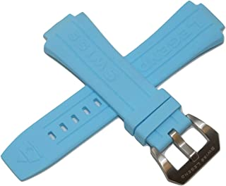 Swiss Legend 28MM Light Blue Silicone Watch Strap Silver Stainless Buckle fits 44mm Trimix Diver Watch