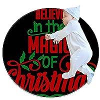 ソフトラウンドエリアラグ 100x100cm/39.4x39.4IN 滑り止めフロアサークルマット吸収性メモリースポンジスタンディングマット,クリスマスの魔法を信じる