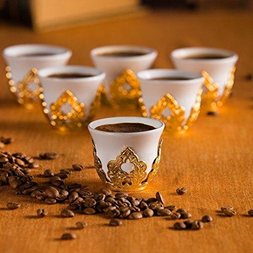 12 Pieces Stunning Espresso Turkish Greek Coffee Serving Set - Porcelain Cups with Brass Holders - Vintage Floral Design Ottoman Arabic Gift Set, Gold