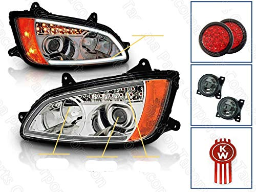 Chrome Projector Replacement Headlights LED Bar Turn Signal Set for Kenworth T660 T700 (Pair) High/Low Beam Bulb Included plus 2x tail light, Pair of Foglights