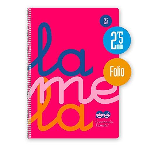 Cuaderno Espiral Fluor Lamela Fº 80 Hojas 90 gr. Cuadrovía 2,5mm. (Rosa)