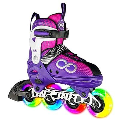 Crazy Skates Adjustable Inline Skates with 8 Light Up Wheels - Roller Blades for Girls - Purple/Pink Medium (Sizes 1-4)