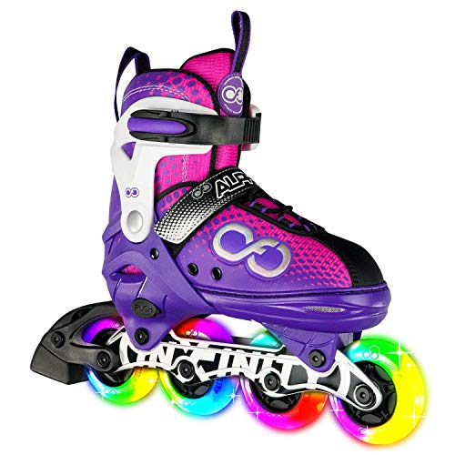 Crazy Skates Adjustable Inline Skates with 8 Light Up Wheels - Purple/Pink Medium (Sizes 2-5)