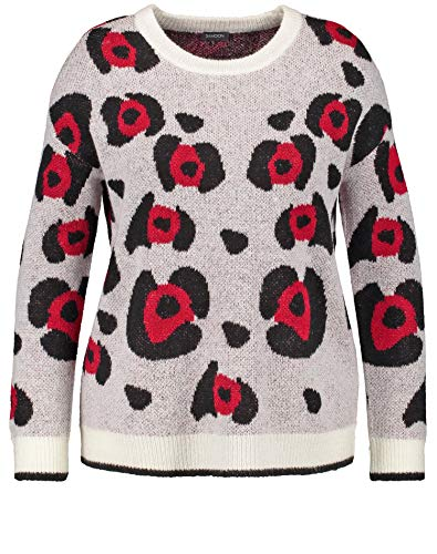 Samoon Damen 372057-25225 Pullover, Mehrfarbig (Offwhite Gemustert 9702), X-Large (Herstellergröße: XL)