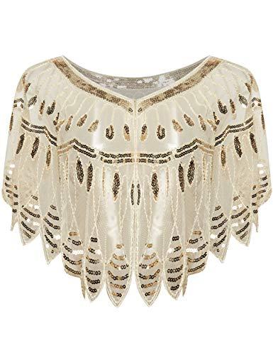 Coucoland 1920s Stola Damesblaadjes-omslagdoeken voor avondjurk, vintage, bruiloft, dames, schouder bedekking, jaren 20 stijl, gatsby kostuum accessoires