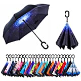 AmaGo Windproof Inverted Umbrella – UV Protection Double Layer Reverse Folding Long Self Standing Umbrella with C-Shape Handle for Car Rain Outdoor Travel(Galaxy)
