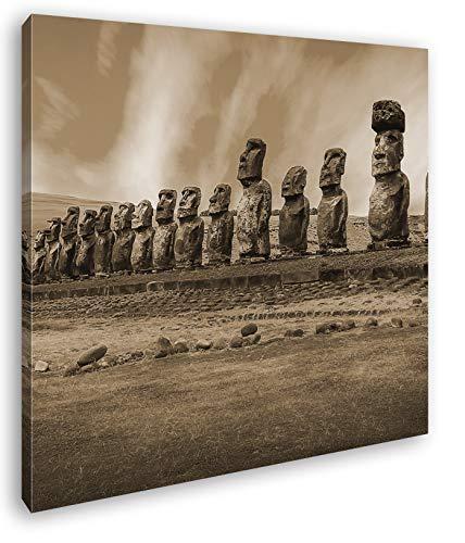 deyoli Steinköpfe auf den Osterinseln Format: 40x40 Effekt: Sepia als Leinwandbild, Motiv fertig gerahmt auf Echtholzrahmen, Hochwertiger Digitaldruck mit Rahmen, Kein Poster oder Plakat