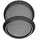 Bestzy, moule à cake classique, moule à cake rond en acier avec revêtement anti-adhésif, diamètre 28 cm, 2 pièces