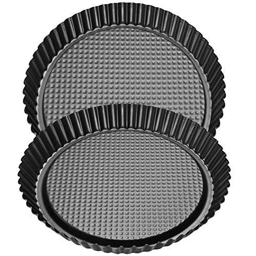 Obstkuchenform, BESTZY Tortenboden, Klassische Backform für Obsttorten, runde Kuchenform aus Stahl mit Antihaftbeschichtung Ø 28 cm - 2Pcs