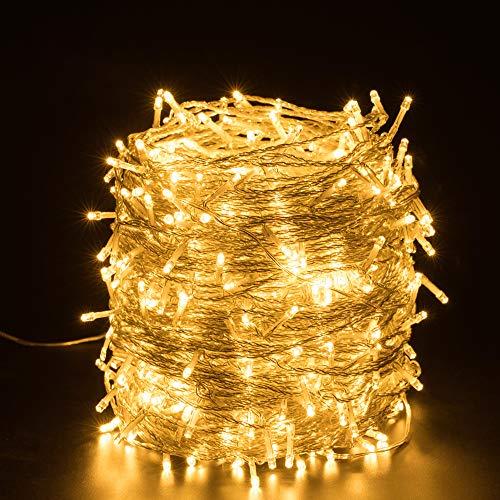 Quntis Luci Natale Esterno 100m 500 LED, IP44 Impermeabile Catena Luminosa Natale decorazioni, illuminazione Natalizia per Albero Casa Ghirlanda Giardino Balcone Terrazzo Gazebo Feste - Bianco Caldo