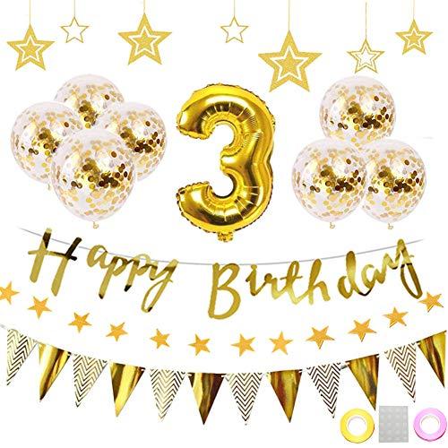 3歳 誕生日 飾り付け 22点セット ゴールド きらきら風船飾り HAPPY BIRTHDAY 装飾 華やか おしゃれ バースデー デコレーション 男の子、女の子 (1歳〜9歳)