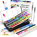 Watercolor Paint Set, Emooqi 42 Premium Colors + 6 Metallic Colors Pigment+ 2 Hook Line Pen+ 3 Water Brushes +10 Sheets of Water Color Paper, Richly Pigmented Portable Painting Art Painting