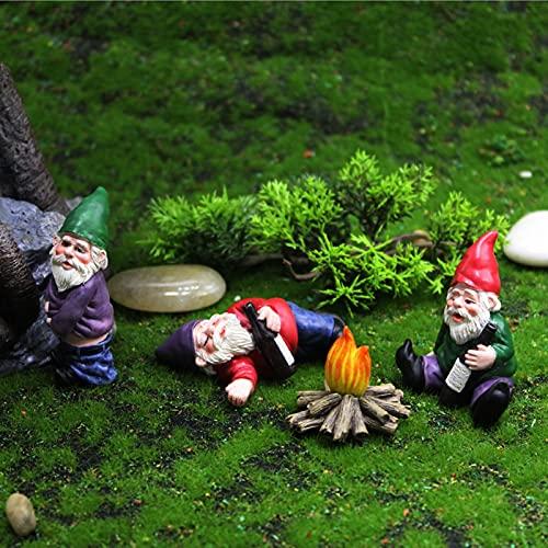 4 PIÈCES Jardin de Bois Gnomes Figurine, Micro Ornements Paysage Extérieur Statue de Bricolage Décorations de Pelouse de Maison de Poupée Miniature, Statue de 3D Cadeau d'art de Sculpture
