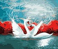 大人のための数字キャンバス油絵キットによるDIYペイント16 * 20インチの描画ペイントワーク-ローズスワン(フレームなし)