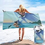 Gebrb Toalla de baño de Microfibra,Toallas de Gimnasio,Jumping Dolphin Microfiber Fast Drying Towels Suitable for Camping, Backpacking,Gym, Beach, Swimming,Yoga