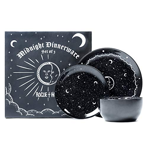 Midnight Dinnerware Set of 3 by Rogue + Wolf Black Plates & Bowl Sets, Contemporary Kitchen Table Gothic Decor, New Apartment essentials for First Home, Aesthetic Accessories - Luxurious Porcelain