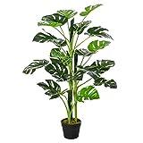 Outsunny Planta Artificial Monstera con Maceta Árbol Tropical Sintético con 21 Hojas y para Casa Oficna Ø16x100 cm Verde