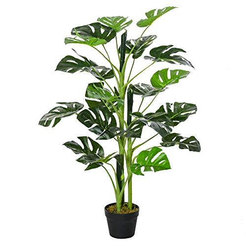Outsunny Planta Artificial Monstera con Maceta Árbol Tropical Sintético con 21 Hojas y para Casa...