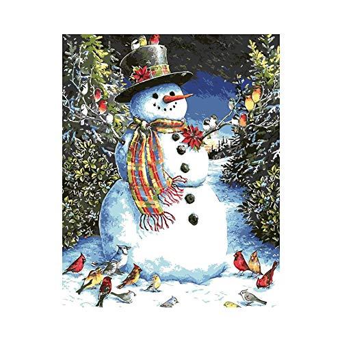 AptoFun Pintura al óleo por números, 40 x 50 cm, para niños mayores o adultos, como regalo o decoración del hogar, muñeco de nieve (con marco de madera)