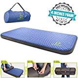 """QOMOTOP Single Self-Inflating Foam Mattress, 80""""×28""""×4"""", 7.5 lbs Portable Roll-Up Outdoor & Indoor Mattress, 4 Inches PU Foam, TPU Material, 24h Without Leaks"""