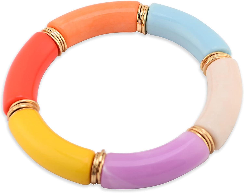 Chunky Acrylic Bamboo Tube Bracelet Curved Resin Tube Bead Bracelet Stackable Boho Gold Disc Women Bracelets