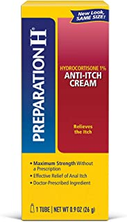 Preparation H Anti-Itch Hemorrhoid Treatment Cream with Hydrocortisone 1%, Maximum Strength Relief, Tube (0.9 Ounce, 1 Tube per Box).