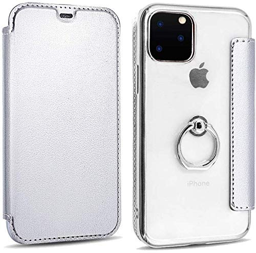 KMXDD iPhone 11 Pro Max Wallet Case Clear Back with 360 Degree Roating Ring Holder Kickstand Card Holder Cover,Ultra Slim Flip Folio Cover Soft TPU Back (Silver, iPhone11ProMax)