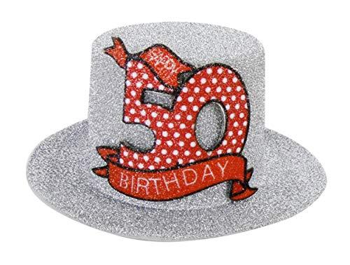 Anik-Shop Mini GEBURTSTAGSHUT Clip Happy Birthday 18/30/40/50/60/70 Jahre Geburtstag Party Hut Deko Spaß Hutzylinder (50 Jahre)