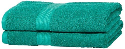 AmazonBasics - Juego de toallas (colores resistentes, 2 toallas de baño), color verde