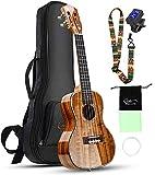 Hricane Ukelele de concierto de madera de acacia fija profesional, liso, brillante, guitarra hawaiana, concierto, instrumentos musicales, 23 pulgadas, con funda