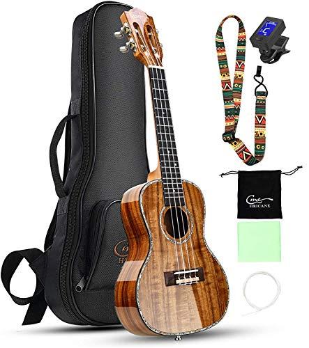 Hricane Konzert Ukulele aus Koa Feste Akazie Professional glatt glänzend Ukulelen Hawaii-Gitarre Conzert Musikinstrumente 23 Zoll mit Tasche
