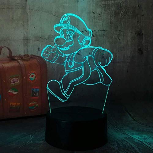 3D Illusion Lamp,Cartoon Cute 3D Action LED RGB , Touch Night Light Figure 7 Colors Change , Home Decoration Christmas Party Gift