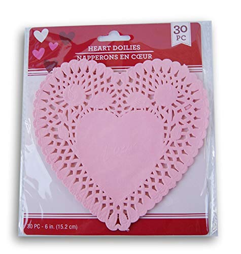 Valentine's Day Decorative Heart-Shaped Paper Doilies - 6 Inches Across - 30 Piece (Pink)