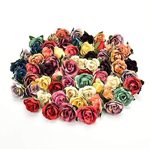 AzXU Flores de seda al por mayor al por mayor flores de seda, flores artificiales para bodas, fiestas de cumpleaños, regalos decorativos de imitación, accesorios de bricolaje, 30 piezas de 3 cm