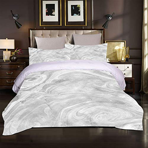 UDUVOG Duvet Cover Bedding Set - Ultra Soft Hypoallergenic Microfiber Duvet Set Single Size 3Pcs, Quilt Cover Set Gray Texture Art Printed Pattern 135X200Cm + 2 Matching Pillowcase