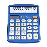 Calcolatrice da tavolo a 12 cifre con ampio display LCD e pulsante sensibile, doppia alimentazione solare e batteria, funzione standard per ufficio, casa, scuola, CD-2786 (Blu)