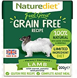 LAMB, CARROT, POTATO & PARSNIP. Complete and balanced nutrition - drinking water should be available at all times and chewing/gnawing items made available for dental hygiene. Certified holistic and naturally moist dog food Wheat, Grain & Gluten free....