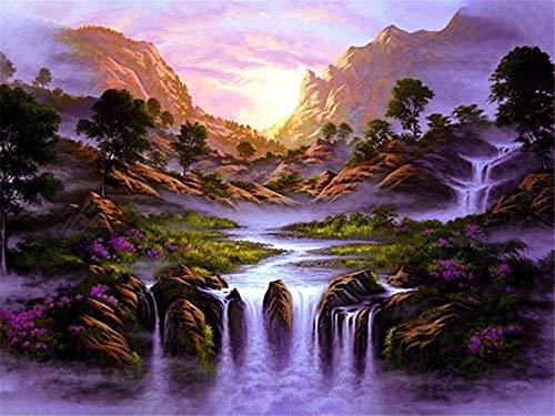 5D pintura de diamante hecha a mano cascada hermoso paisaje bordado de diamantes paisaje punto de cruz kit de diamantes de imitación para el hogar A10 45x60cm
