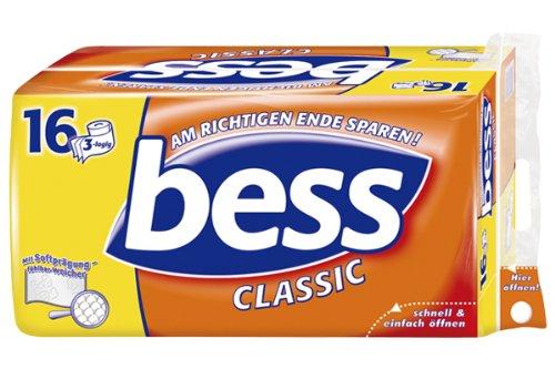 Bess Classic Toilettenpapier 3-lagig, 16 Rollen