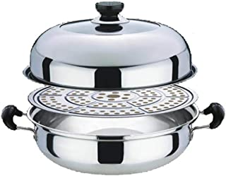 Olla de acero inoxidable para cocinar al vapor de arroz y verduras, antiadherente, de nivel de inducción