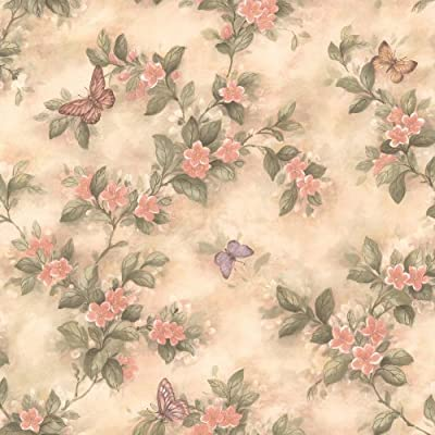 Brewster Lisa Peach Butterfly Floral Wallpaper