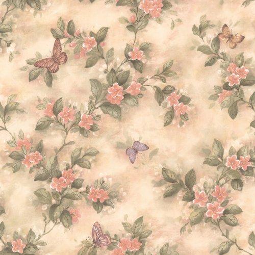 Brewster 436-38573 Lisa Peach Butterfly Floral Wallpaper, Peach