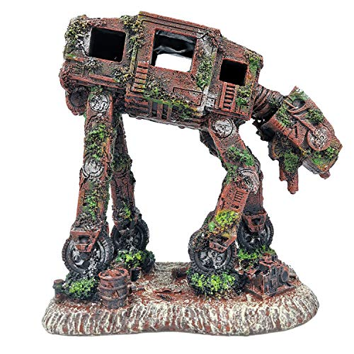 LUOLAO Robot Dog Fish Tank Aquarium Decorations Betta Decor Hide Autobots Fish House Accessories Cove