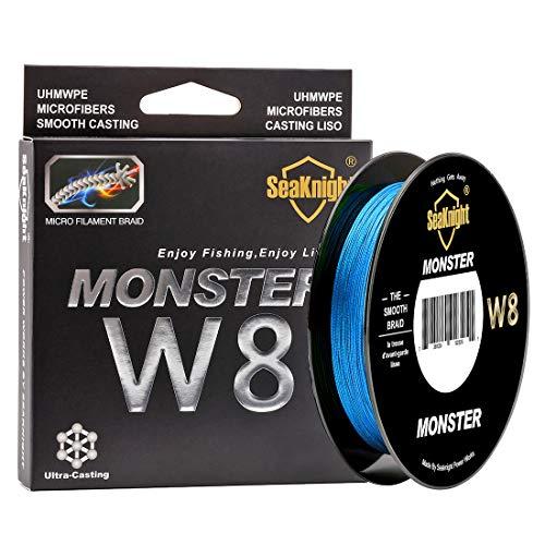 SeaKnight Monster W8 8 8 geflochtene Schnüre 150 m Super glatt PE geflochten Multifilament Karpfenangelschnüre für Meeresangeln 45,72-45,72 kg, Herren, blau, 2.0#:30LB/Diam:0.23mm/164Yds/150M